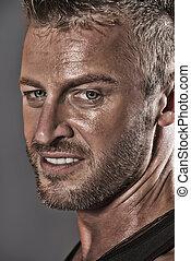 macho male - Close-up portrait of a handsome mature man.