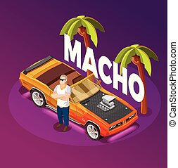 Macho man standing crossed arms near luxury open top car in tropical resort isometric image vector illustration