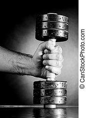 macho, mano, metal, tenencia, barra con pesas