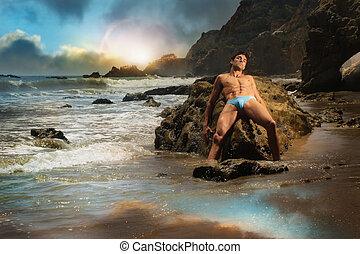 macho, modelo, en, playa