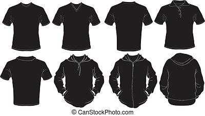 macho, negro, camisas, plantilla