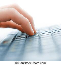 macho, oficinista, mecanografía, en, el, teclado