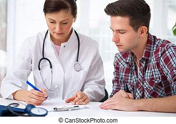 macho, paciente, doctor