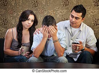 macho, padres, adolescente, triste