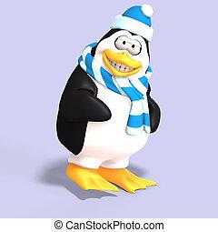 macho, pingüim, toon
