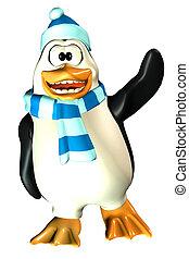 macho, pingüino, ondulación