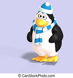 macho, pingüino, toon