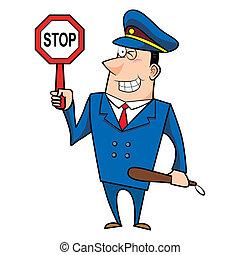 macho, polícia, caricatura, oficial