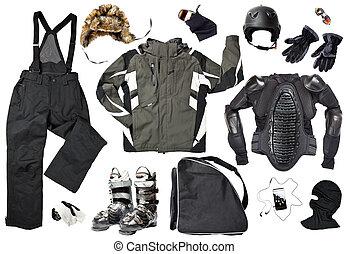 macho, roupa, esquiador