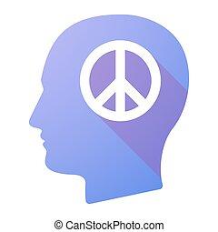 macho, señal, paz, icono, cabeza