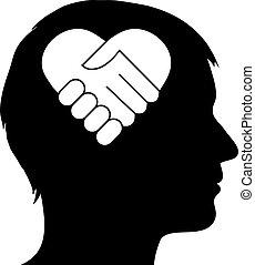 macho, silueta, com, coração, aperto mão