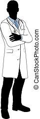 macho, silueta, doutor