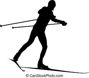 macho, silueta, esquiador, negro