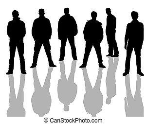 macho, siluetas, negro, blanco