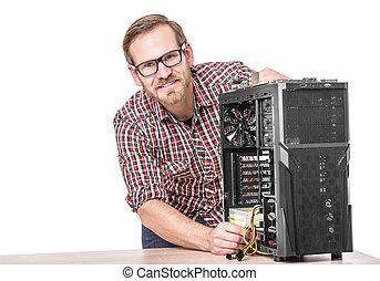 macho, técnico, con, computer.