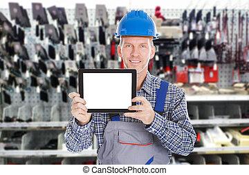 macho, trabajador, tenencia, tableta, digital