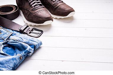 macho, vaqueros, cinturón, y, shoes, con, texto, espacio