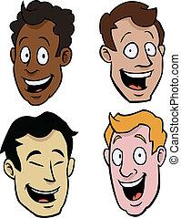 macho, vario, caricatura, caras