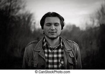 macho, vendimia, joven, estilizado, (photo, negro, foto, blanco, tiene, grain), modelo, película, intentional
