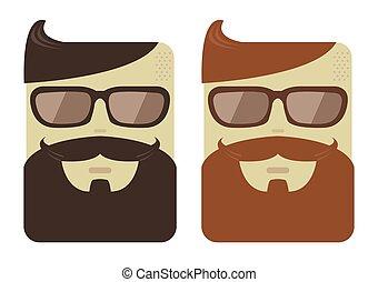 macho, vetorial, hipster, caras, barbas, caricatura