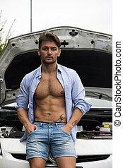 macho, voiture, sien, musculaire, homme