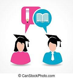 macho, y, estudiante femenino, para, educación