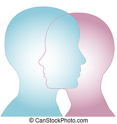 macho, y, hembra, silueta, perfil, caras, combinar