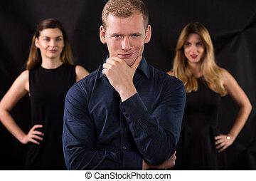 macho, y, seductor, mujeres
