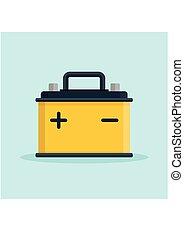 macht, batterij, auto, energie, accumulator, elektrisch, auto, icon.