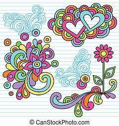 macht, doodle, vector, bloem, aantekenboekje