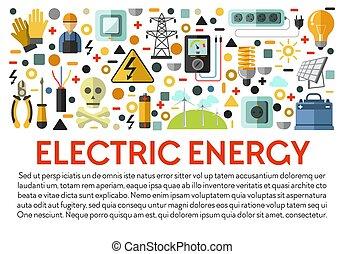 macht, elektriciteitsvoorziening, energie, spandoek, ...