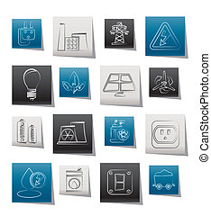 macht, energie, en, elektriciteit, iconen