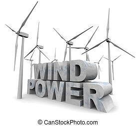macht, energie, -, woorden, alternatief, wind