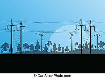 macht, hoogspanning, elektriciteit toren, lijn, en, wind, generators, in, platteland, bos, natuur landschap, illustratie, achtergrond, vector