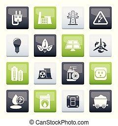 macht, iconen, elektriciteit, energie kleur, achtergrond, op