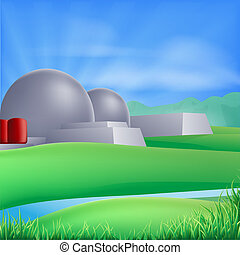 macht, illustratie, kernenergie