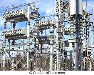macht, kondensator, umspannwerk, bank