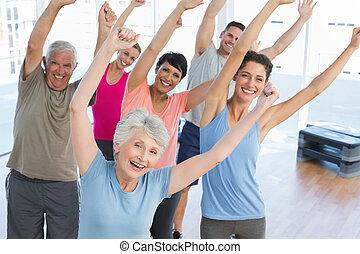 macht, leute, fitness, porträt, lächeln, übung