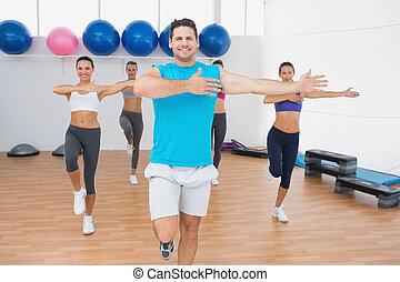 macht, leute, studio, fitness, lächeln, übung
