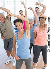macht, mensen, fitness, verticaal, het glimlachen, oefening