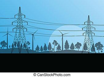 macht, natur, elektrizität, hoch, landschaft, vektor, ...