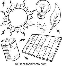 macht, sonnenkollektoren, skizze, gegenstände