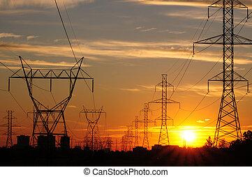 macht, uitzending, &, ondergaande zon