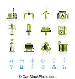 macht, und, elektrizität, industriebereiche, ikone