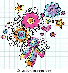 macht, vector, bloem, doodles, groovy