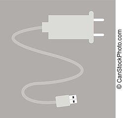 macht, vektor, usb kabel