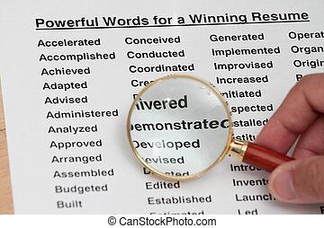 machtig, woord, voor, innemend, een, hervatten