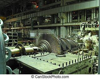 machtsgenerator, stoom, turbine, gedurende, herstelling, mechanisme, pijpen, buizen, op, een, krachtinstallatie, de scène van de nacht