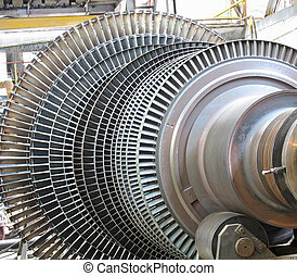 machtsgenerator, stoom, turbine, gedurende, herstelling