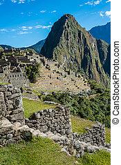 machu, peruwiański, cuzco, andy, peru, picchu, gruzy